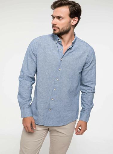 DeFacto Keten Karışım Modern Fit Gömlek Mavi
